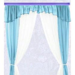 Голубые шторы из шифона для кухни