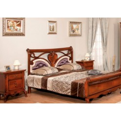 Кровать 1600 в резным изголовьем в спальный гарнитур Ева
