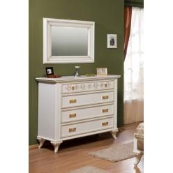 Классический белый комод с зеркалом в спальню Мелоди (MELODY)