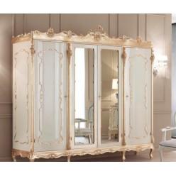 Резной белый шкаф с позолотой в мебельный гарнитур Анастасия