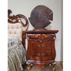 Тумбочка прикроватная с позолотой в спальный гарнитур Леонардо