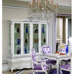 Белая четырехдверная витрина в гостиный гарнитур Принцесса